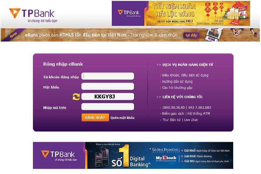 Giao diện TPBank online