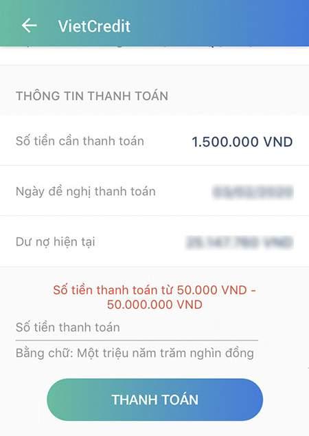 Thanh toán dư nợ Vietcredit qua ViettelPay