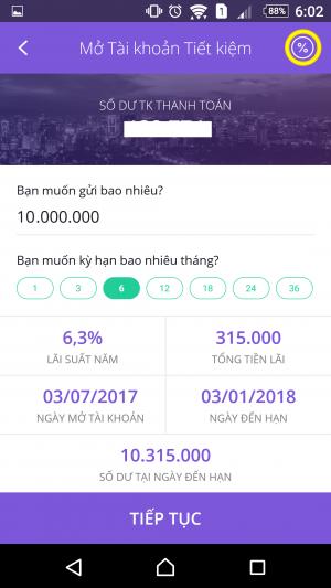 Chọn kỳ hạn để mở tài khoản tiết kiệm