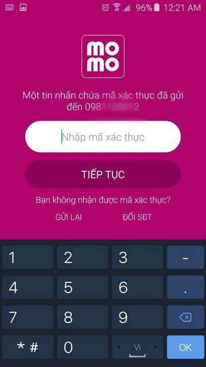 Nhập mã xác thực OTP