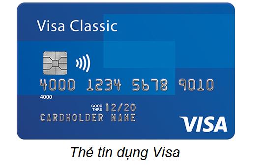 Mặt trước thẻ tín dụng Visa