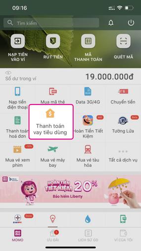 Truy cập ứng dụng MoMo và đăng ký ứng dụng