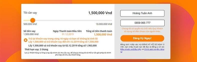 Form đăng ký vay tiền tại Moneycat