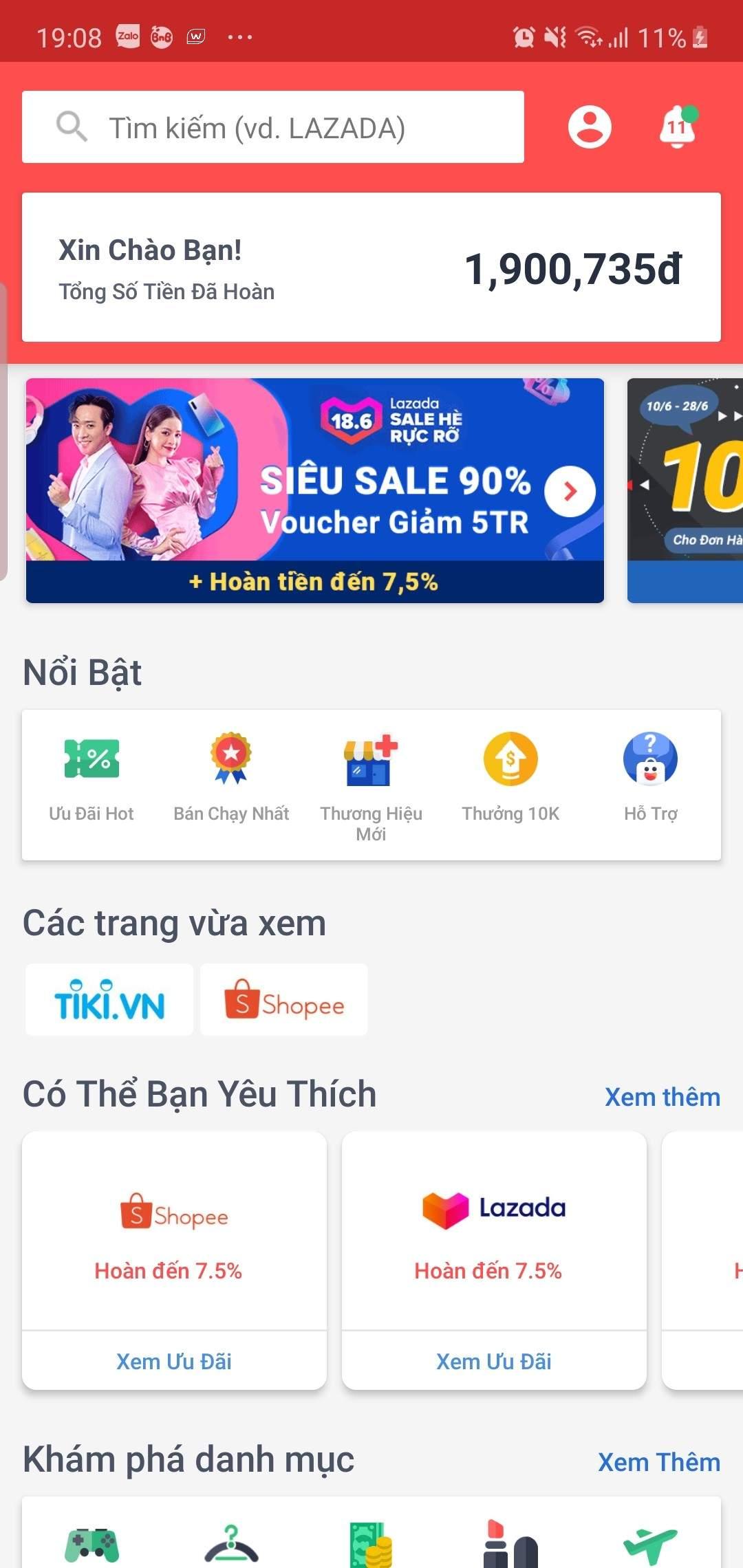Giao diện app ShopBack