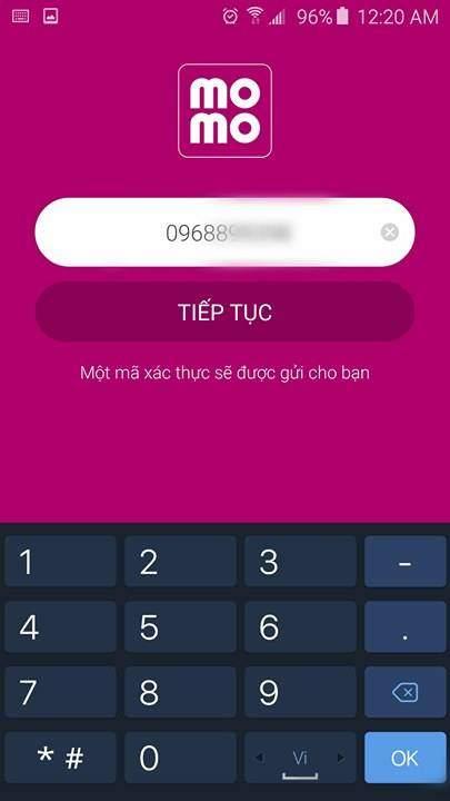 Nhập số điện thoại để đăng ký ví MoMo