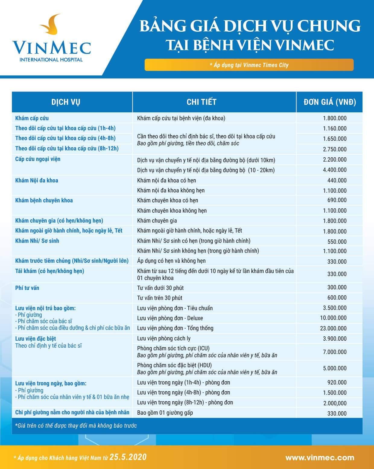 Bảng giá dịch vụ chung áp dụng tại Vinmec Times City