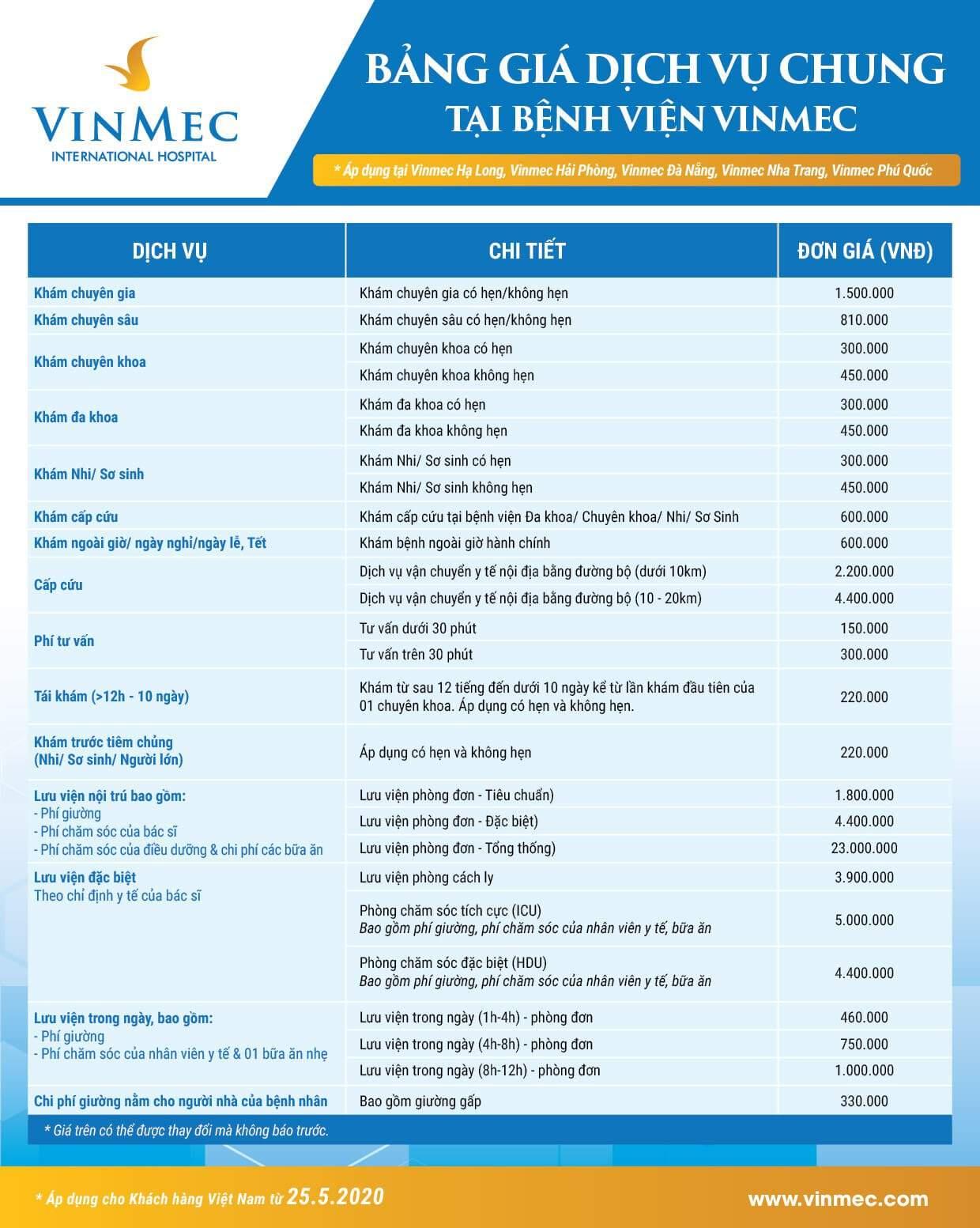 Bảng giá dịch vụ chung áp dụng tại Vinmec Nha Trang, Vinmec Hạ Long, Vinmec Đà Nẵng, Vinmec Phú Quốc, Vinmec Hải Phòng