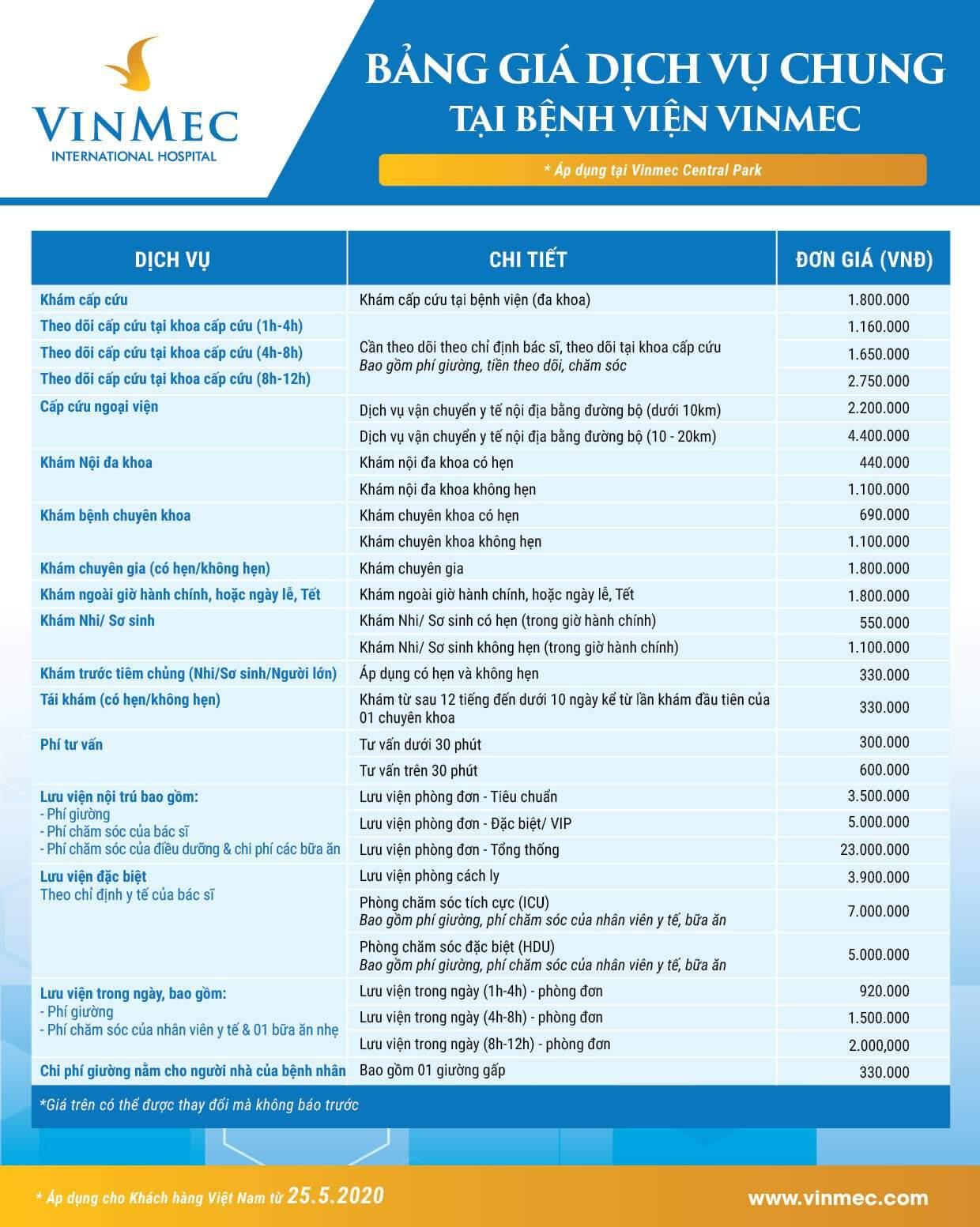 Bảng giá dịch vụ chung áp dụng tại Vinmec Central Park