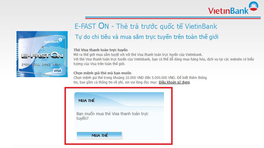 Mua thẻ ảo tại website Vietinbank