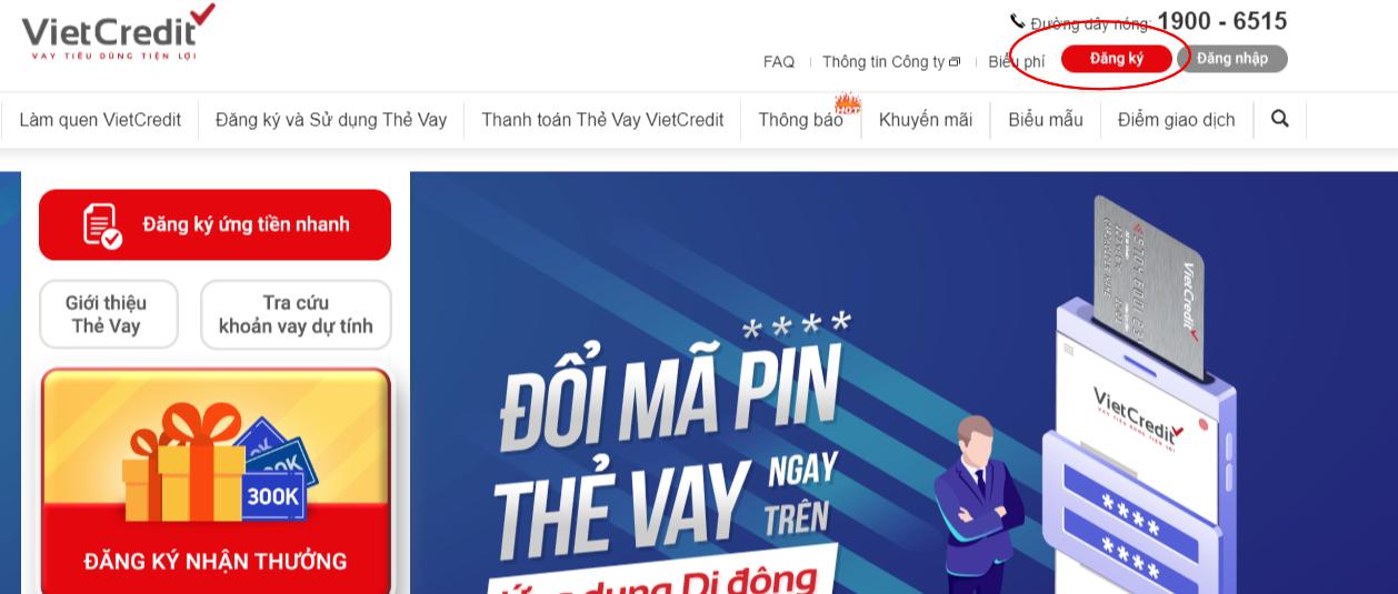 Giao diện website Vietcredit