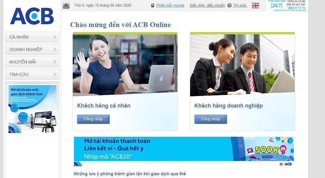 Giao diện internet banking ACB