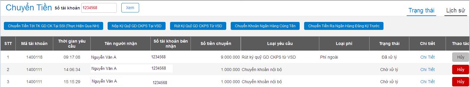 Xem trạng thái chuyển tiền khi yêu cầu