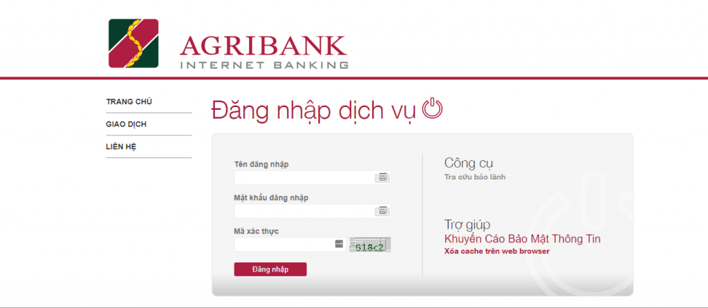 Giao diện Internet Banking Agribank