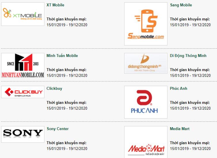 Một số đối tác của Vietcombank cho phép trả góp 0% lãi suất với thẻ tín dụng Vietcombank