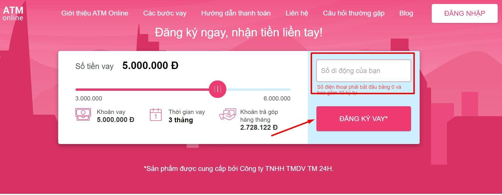 Vay tiền mặt ATM Online