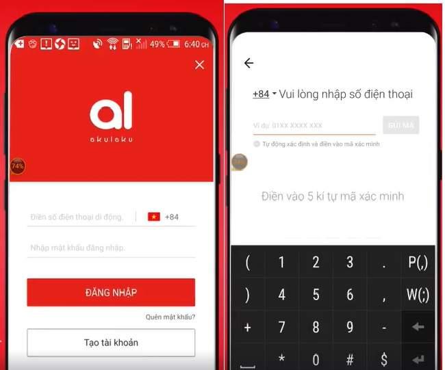 Tạo tài khoản đăng nhập Akulaku