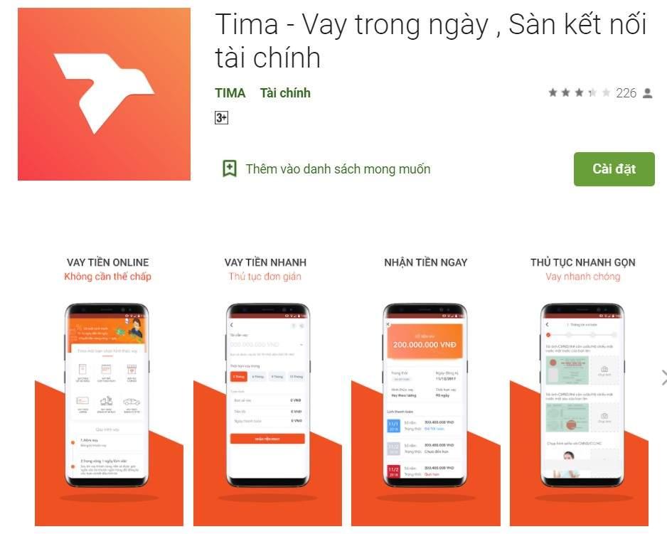 App Tima vay trong ngày