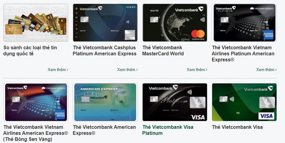 Các sản phẩm thẻ tín dụng quốc tế Vietcombank