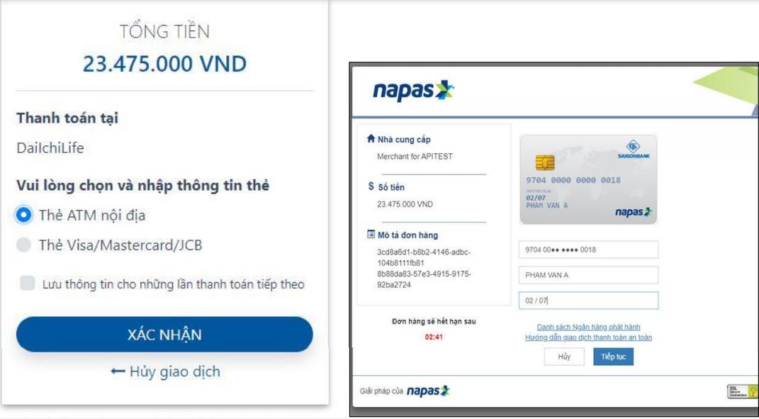 Hình ảnh thanh toán thẻ nội địa