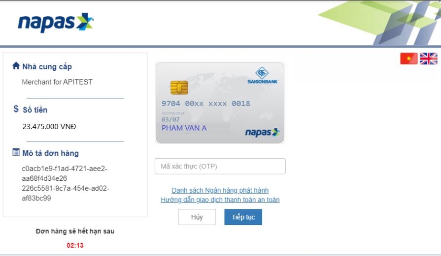 Nhập mã OTP thẻ nội địa