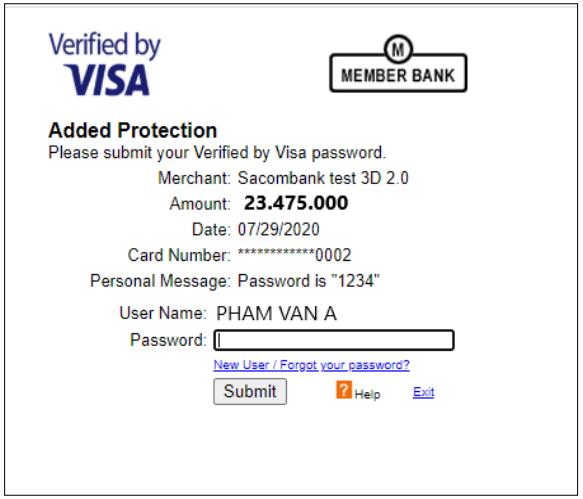 Nhập mã OTP thẻ quốc tế