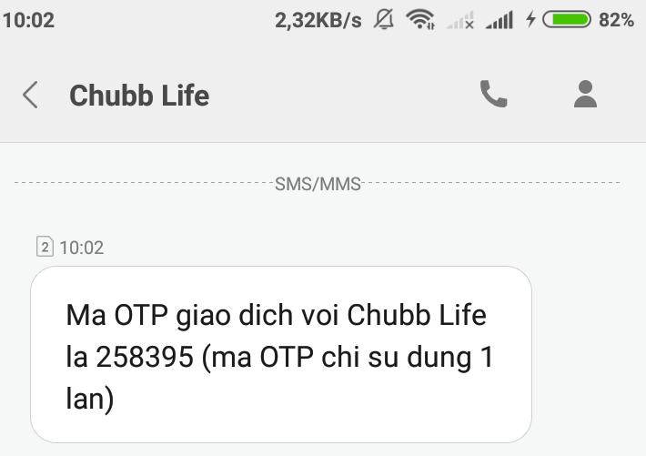 Nhập mã OTP được gửi về điện thoại