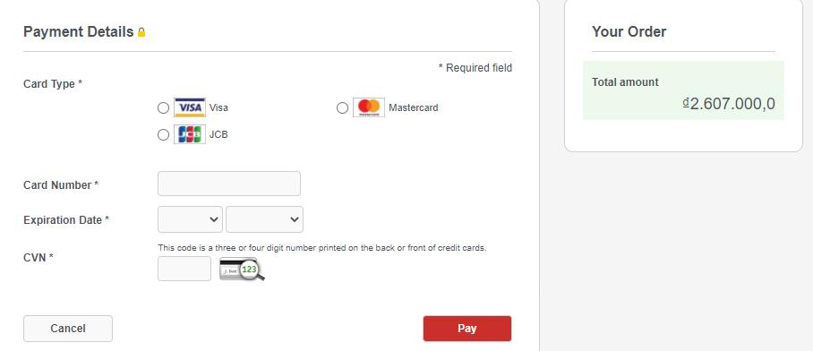 Điền thông tin về tài khoản thẻ để thanh toán