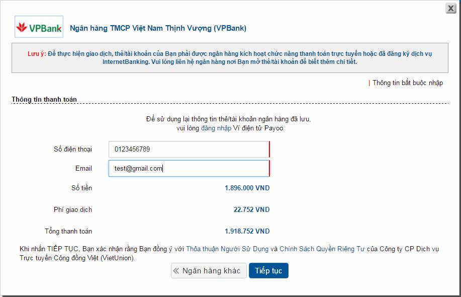 Nhập thông tin người thanh toán