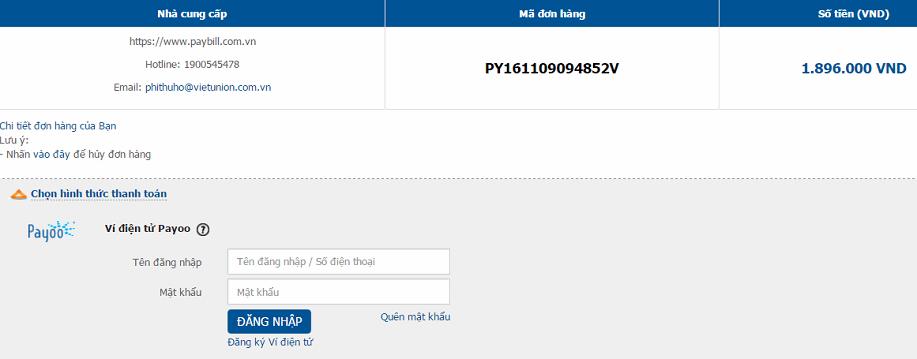 Đăng nhập hoặc tạo tài khoản Payoo như hướng dẫn
