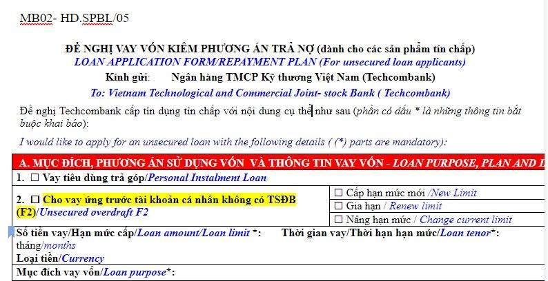 Đơn đề nghị vay vốn kiêm phương án trả nợ Techcombank