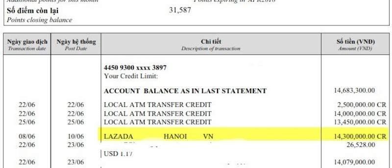 Bảng sao kê thẻ tín dụng sẽ thể hiện chi tiết các khoản chi mà bạn đã sử dụng