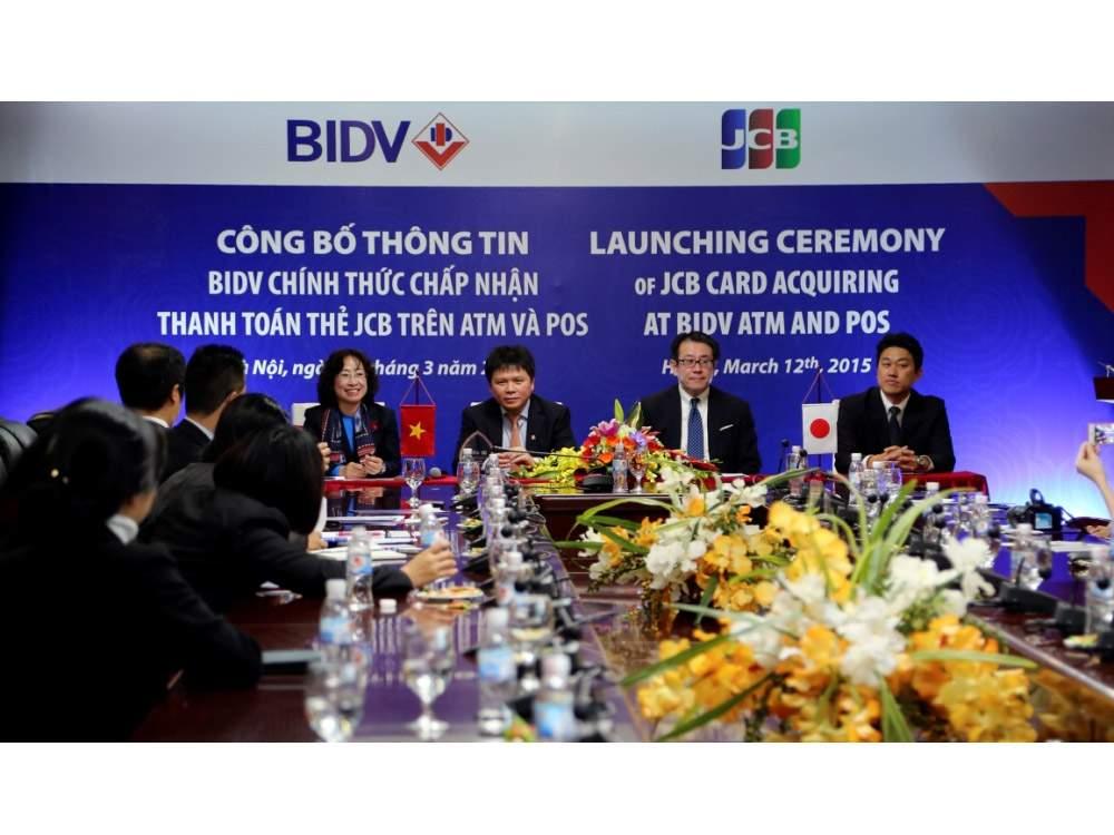 Năm 2015. JCB và BIDV đã ký kết hợp tác chấp nhận thanh toán thẻ
