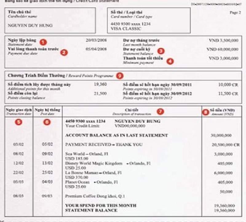 Hình 2 : Mẫu sao kê tài khoản