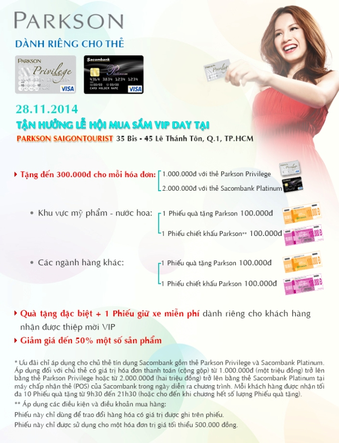 VIP Day tại Parkson SaigonTourist ngày 28/11/2014