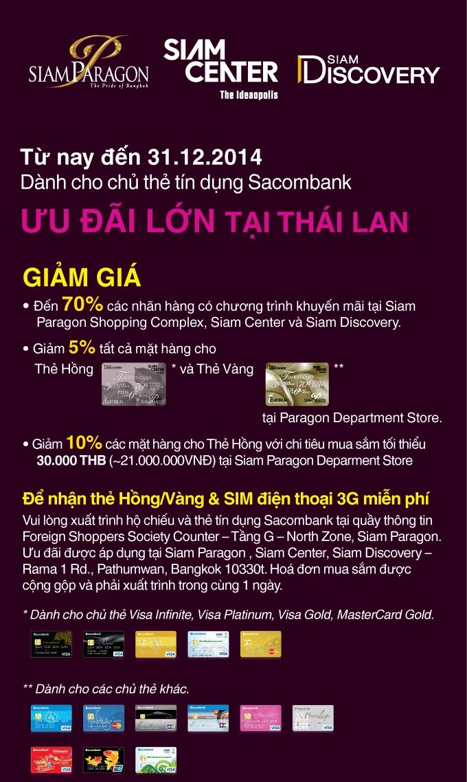 Du lịch Thái Lan nhận ưu đãi lớn với thẻ tín dụng Sacombank