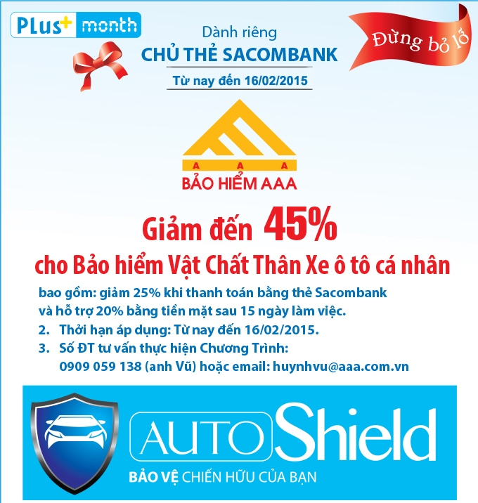 Giảm đến 45% khi mua bảo hiểm AAA