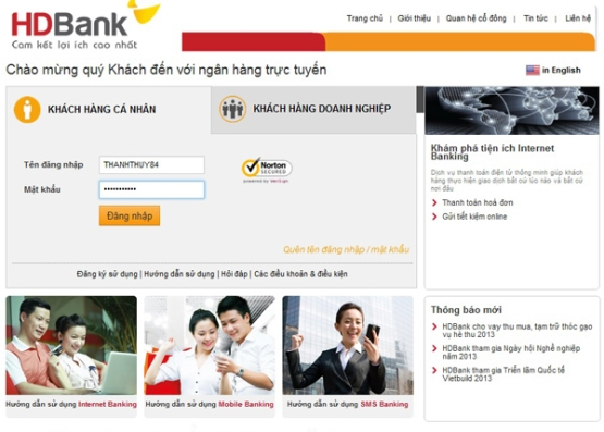 dịch vụ internet Banking
